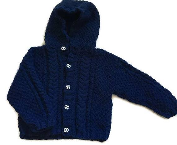 Bebé niño pequeño suéter con capucha tejido a mano tejido a  6aba1da07d96