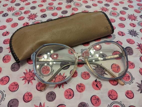 1970's Clear Eyeglasses / 1970s Blue Glasses / Vin