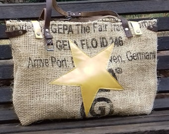 Burlap coffee and leather tote bag