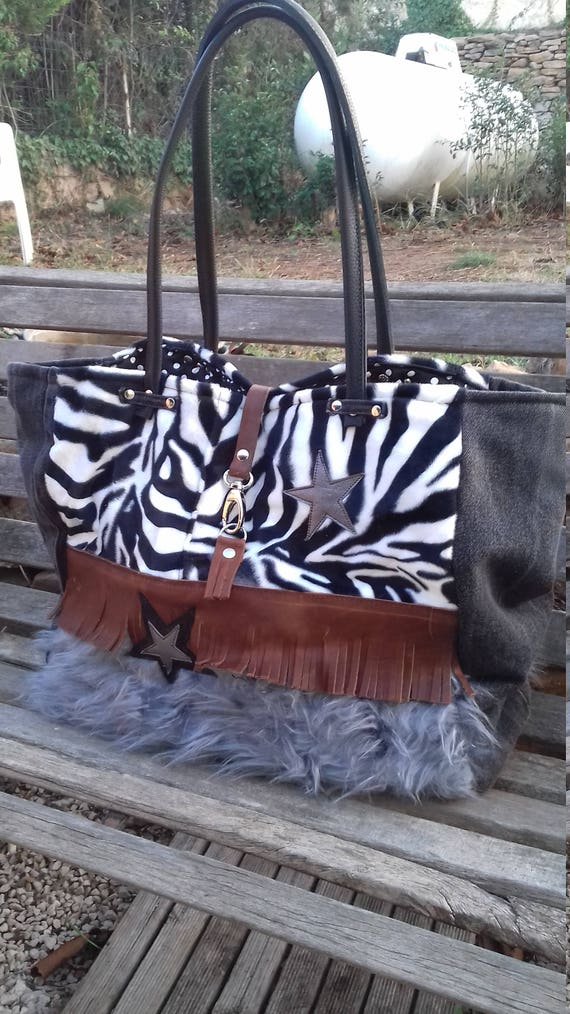 Fur and leather convertible tote bag  b77a9eb667078