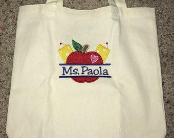 NEW Large Handmade School Teacher Bus Classroom Creative Denim Tote Bag
