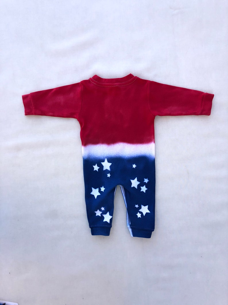 Newborn 4th of July Romper Tie Dyed Sleeper Knot-bow Headband Stars and Stripes Coming Home Outfit Boho Baby Beanie Infant Memorial Day