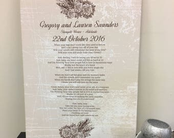 Personalised Wedding Song Lyric Canvas