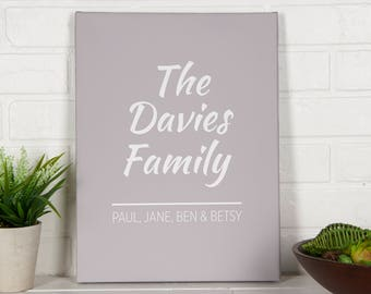 Modern Family Personalised Canvas