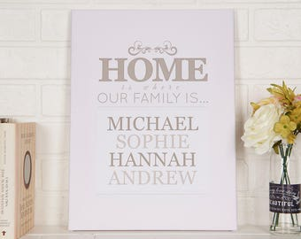 Home Is Where Our Family Is Personalised Canvas