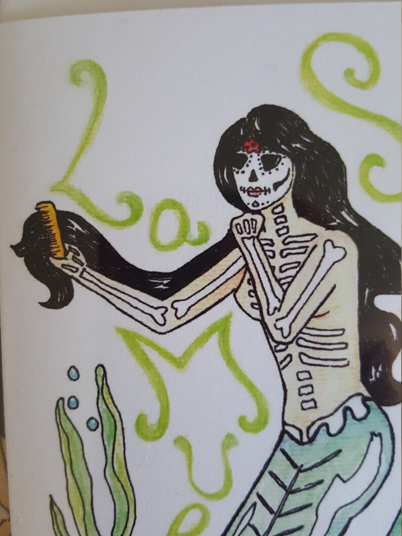 ocean lovers day of the dead mermaids sugar skulls sea nymphs dia de los muertos Mermaid Lovers Art set of 2 note cards las sirenas