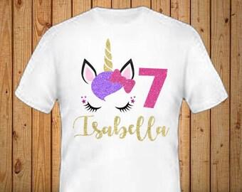 Glitter Unicorn Birthday Shirt