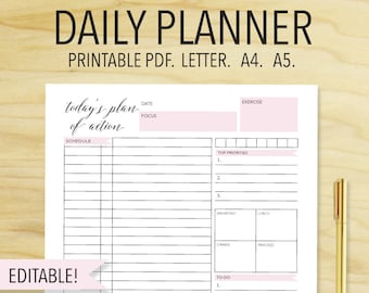 Daily Planner To do list day organizer A4 daily planner | Etsy