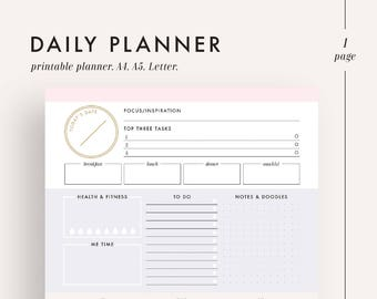Daily planner, printable planner, planner inserts, planner printable, day planner, daily planner insert, daily schedule, daily organizer