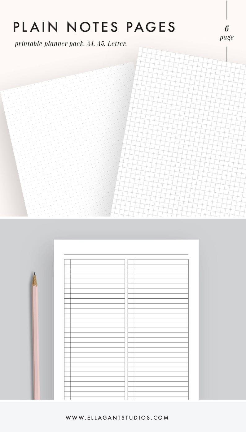 Note Paper Printable Note Paper Note Pages Bullet Journal Etsy