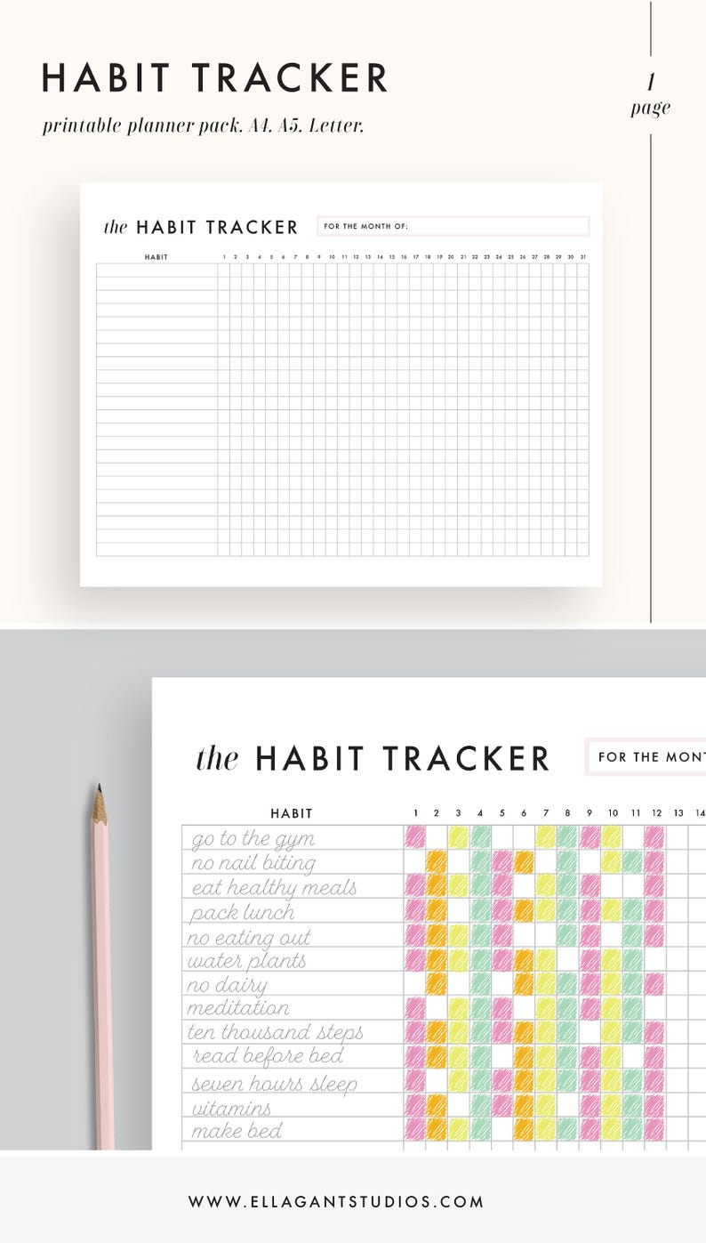 image about Daily Habit Tracker Printable named Routine Tracker Printable, each day routines planner, planner inserts, A5, A4, US Letter Dimension, efficiency, ambitions, Printable PDF