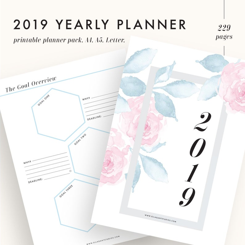 2019 Planner Printable 2019 Monthly Planner 2019 Weekly Planner 2019  Planner Pages 2019 Agenda Printable Planner Inserts A4 A5 LETTER