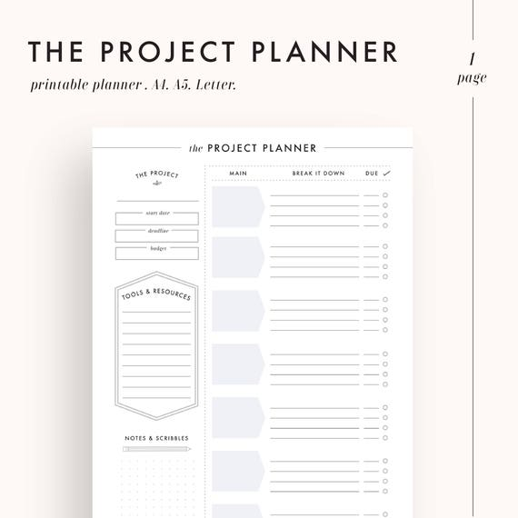 photo relating to Printable Project named job planner, efficiency planner, task control, challenge tracker, college student planner, planner inserts, planner internet pages, printable