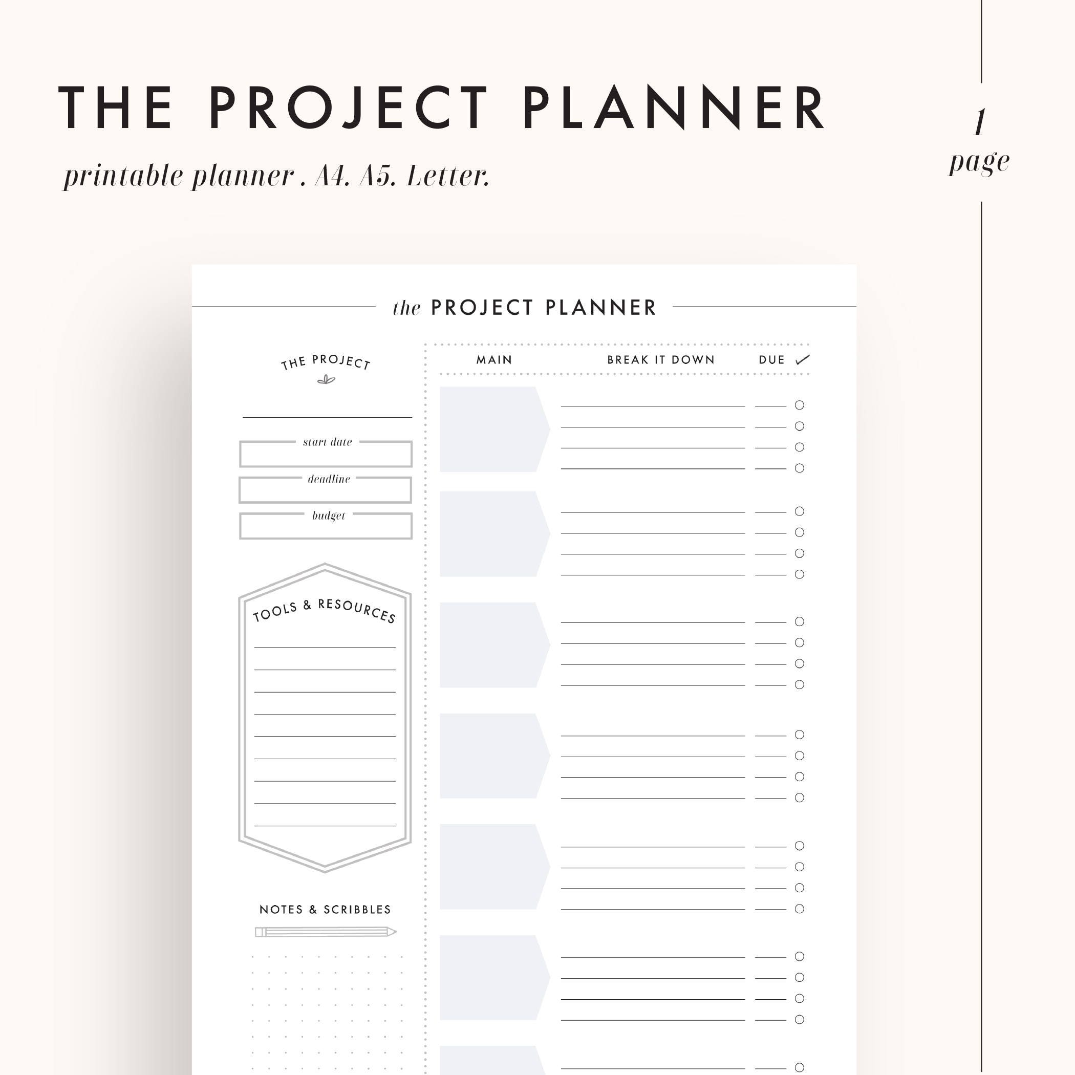 graphic about Printable Project Planner called task planner, efficiency planner, venture control, challenge tracker, pupil planner, planner inserts, planner webpages, printable