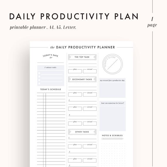 daily planner productivity planner daily goals daily etsy