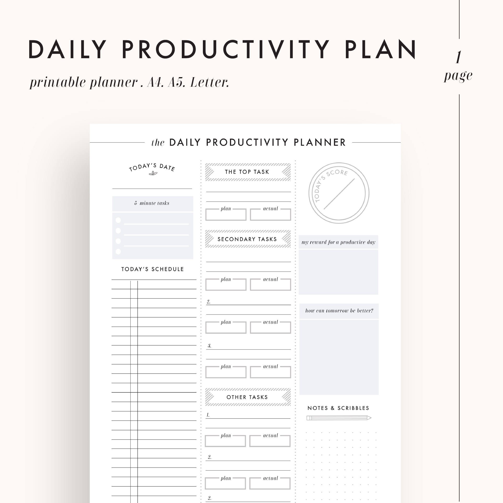 image relating to Productivity Planner Templates called Undertaking Planner Printable Productiveness Planner Printables