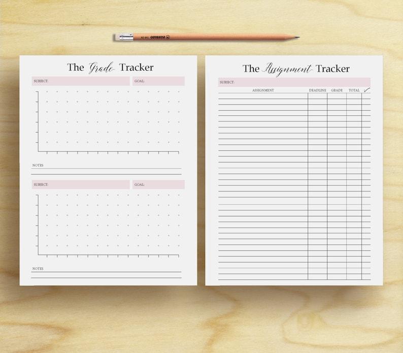 Homework Planner, Assignment planner, grade tracker, student planner,  student printable, printable insert, school planner, instant download