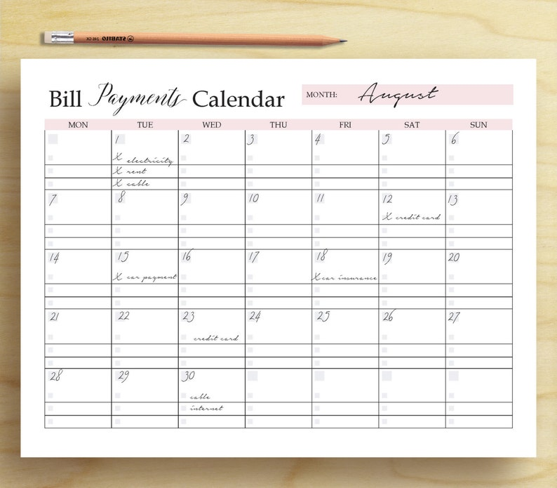 photo relating to Bill Payment Calendar Printable titled Monthly bill Expenses Calendar, Invoice Tracker, Unique Finance Printable, Spending budget Printable, Invoice Organizer, Funds Planner, A5, A4 Letter