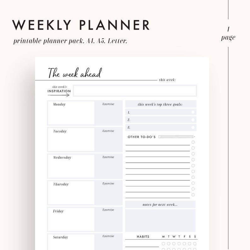photograph about Printable Weekly to Do List titled weekly planner inserts, weekly in the direction of do listing, printable planner inserts, weekly organizer, a5 planner inserts, a4 planner inserts, letter measurement