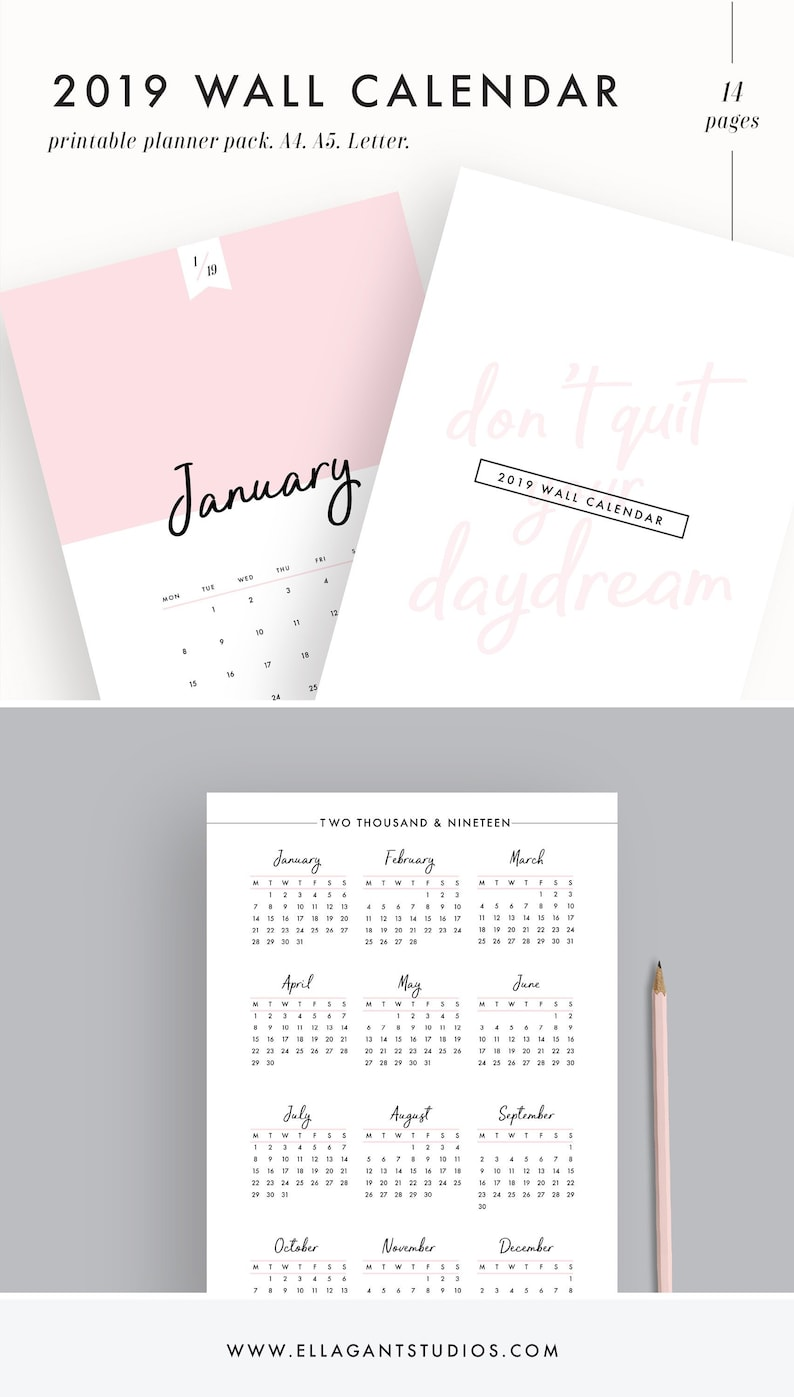 Wall Calendar 2019 Wall Calendar 2019 Calendar Printable Etsy