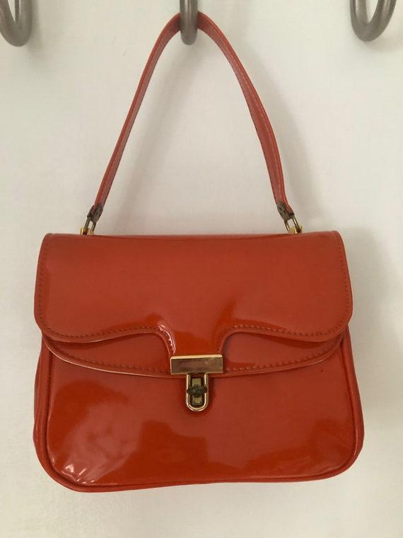 1960's Glossy Orange Vinyl Handbag