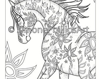 Horse coloring | Etsy