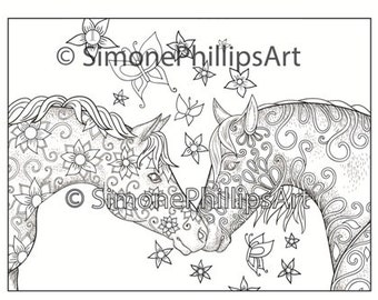 Horse Coloring Page 2 Beautiful Horses Sniffing