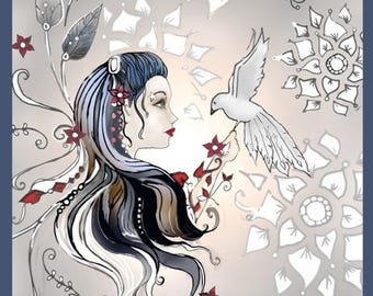 Girl with Bird - Digital Stamp & Coloring Page combo
