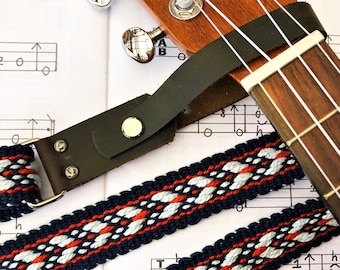 Handwoven Ukulele Strap, Southwestern Colors, Fancy Weave, Free Leather Headstock Strap Holder, No Strap Button Option Available