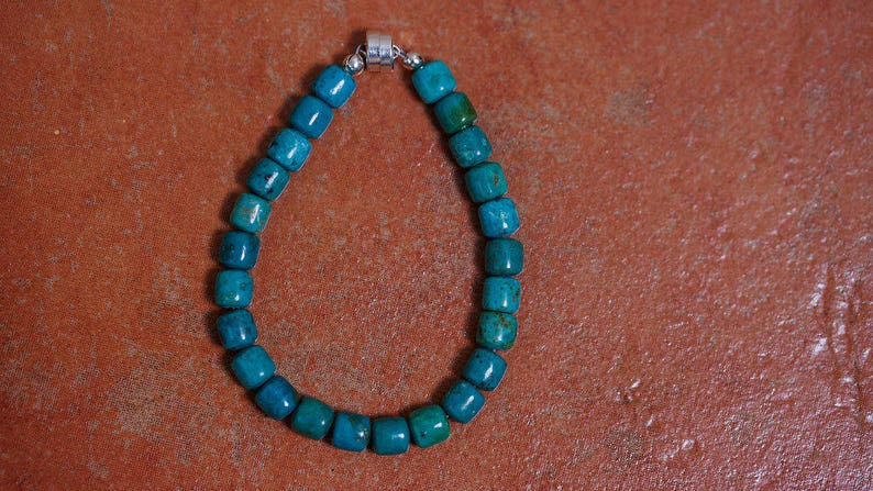 Turquoise bead bracelet sterling silver magnet clasp image 0