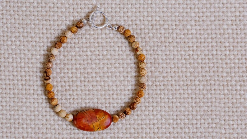Red Creek Jasper beaded bracelet sterling silver toggle clasp image 0