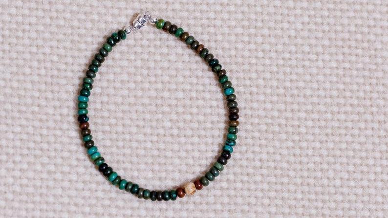Turquoise green 4mm round beads jasper center bead sterling image 0