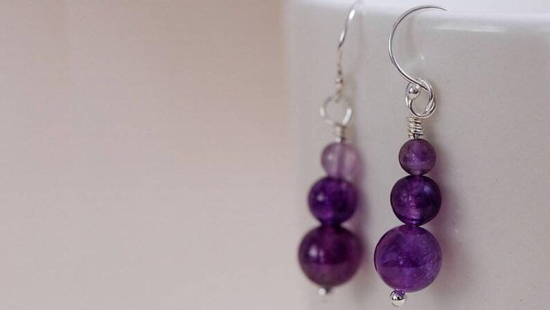 Genuine amethyst bead earrings sterling silver wires image 0