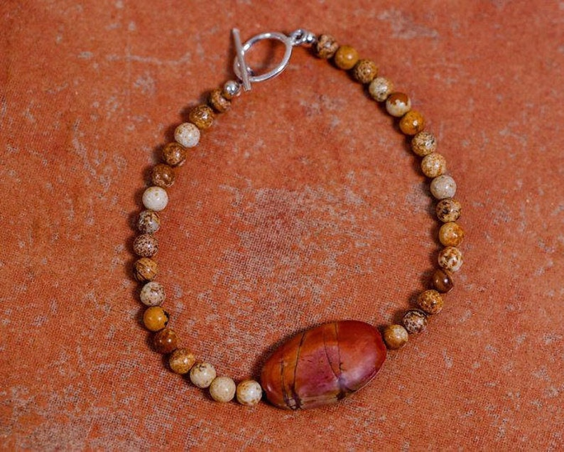 Red Creek Jasper beaded bracelet in desert colors sterling image 0