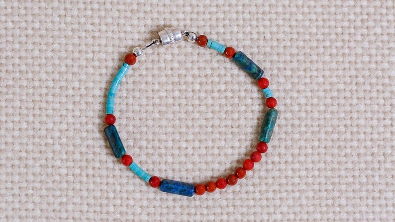 Multi-gemstone beaded bracelet of turquoise red image 0