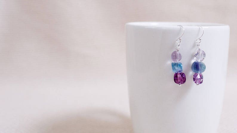 Earrings fluorite beads multi-color nuggets sterling silver image 0