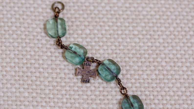 Fluorite  square beads hand-wrapped with antique brass wire image 0