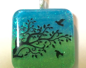 Bird and Tree Color-Duo Sparkle Necklace