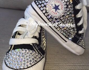 Swarovski crystal baby girl converse shoes black, bling baby converse, baby girl gift