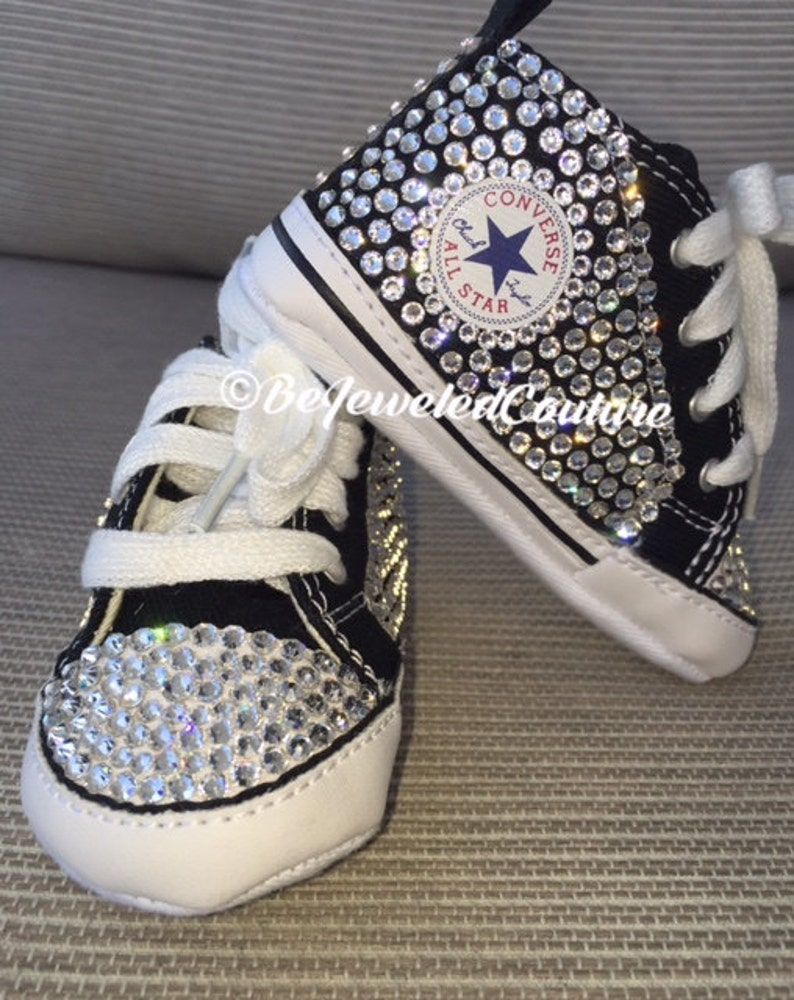 b0700c7b6a1b Swarovski crystal baby girl converse shoes black bling baby