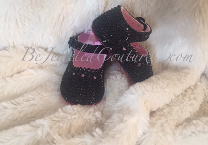 more photos 0d3df c2b03 Black Swarovski Red Bottoms Baby Girl Shoes