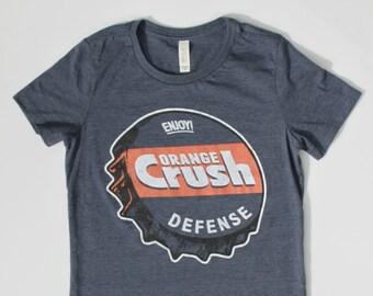 147eaca0c Denver Broncos Shirt - Womens Shirt - Orange Crush Defense - Heather Blue