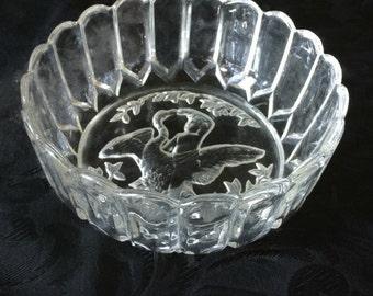 "Embossed Glass ""Leda and the Swan"" Bowl, Greek Mythology, Vintage Glass"