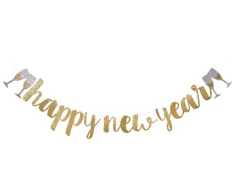 happy new year banner new years eve decoration new years eve party 2019 happy new year sign silver gold glitter garland decor 2019