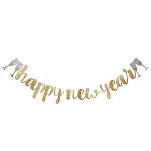 New Year Decorations No DIY Required Hanging Banner Sign Happy New Year Glitter Banner \u2013 Real Glitter Star NYE Banner Gold Paper Glitter