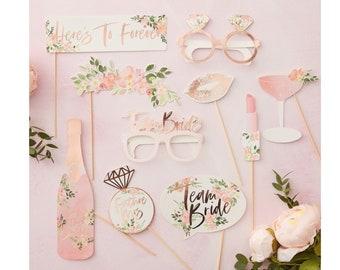 Bridal Shower Photo Props | Bachelorette Party Photo Props | Photo Booth Prop | Botanical Bridal Shower Floral Bridal Shower Rose Gold