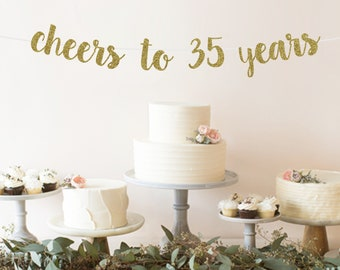 Cheers To 35 Years Banner