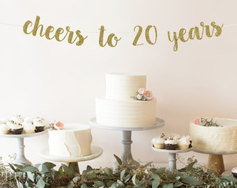 Cheers To 20 Years Banner