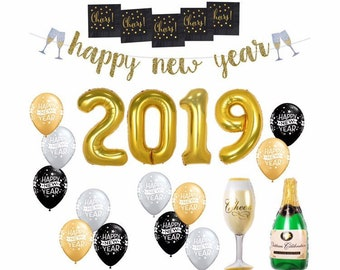 new years eve decorations new years eve party balloons happy new year banner gold silver black 2019 balloons new year balloons decor