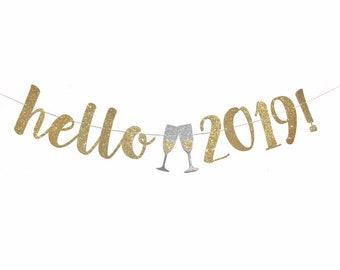 new years eve decoration happy new year banner hello 2019 banner new years eve party 2019 gold silver new years eve decor 2019